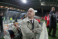 """PORTUGAL - PORTO 28 FEBRUARY 2005: GIOVANNI TRAPATTONI SL Benfica coach stares to the vision of 50.000 spectators that witness the match, in the 23 leg of the Portuguese soccer league """"Super Liga"""" FC Porto (1) vs SL Benfica (1), held in """"Dragao"""" stadium  28/02/2005  19:47:18<br />(PHOTO BY: NUNO ALEGRIA/AFCD)<br /><br />PORTUGAL OUT, PARTNER COUNTRY ONLY, ARCHIVE OUT, EDITORIAL USE ONLY, CREDIT LINE IS MANDATORY AFCD-PHOTO AGENCY 2004 © ALL RIGHTS RESERVED"""