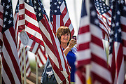 10 SEPTEMBER 2012 - TEMPE, AZ:     A woman photographs American flags in  the Healing Field in Tempe, AZ, Monday. The Exchange Club of Tempe and the city of Tempe are hosting the 9th Annual Healing Field display. The annual event posts three thousand American flags in the Tempe Beach Park. The flags are 3?X5?  and stand 8? tall. The display is a tribute to those who died in the terrorist attacks of September 11, 2001. Nearly 3,000 people were killed when terrorists affiliated Al-Qaeda crashed commercial airliners into the World Trade Center in New York, the Pentagon in Arlington, VA, and a field in Ohio.   PHOTO BY JACK KURTZ