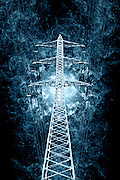 Digitally enhanced image of a High voltage power lines and pylon