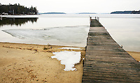Beginning stages of ice out on Lake Winnipesaukee.   Karen Bobotas/ for the Laconia Daily Sun