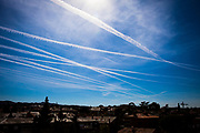 The Current Climate #1: Aircraft contrails over Barcelona, Catalonia, Spain, March 2019. Aviation is one of the fastest growing sources of greenhouse gas (GHG) emissions and the most climate-intensive form of transport. Aviation emissions have more than doubled in the last 20 years and the sector is responsible for an estimated 4.9% of man-made global warming - and growing 21% in EU in last three years). While other sectors are working to decarbonise, there's no sign of any viable alternative to fossil fuelled flight anytime soon - electric engines are a long way off. Flying seems, cheap, and it seems easy, but it's actually expensive - and we've yet to pay the cost. In the EU, many tickets are VAT-exempt, costing governments €17 billion annually. If applied, tickets would cost, around 20% or so extra, depending on where you live. Plus, Fuels used in commercial aviation are exempt from excise duties in the EU. (Facts from Transport & Environment website).
