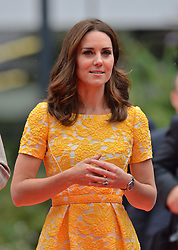 The Duchess of Cambridge arrives for a visit to the German Cancer Research Institute in Heidelberg, Germany.