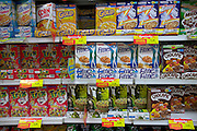 Cereal choices in a Quito, Ecuador, supermarket. Supermarkets are generally a new phenomenon in Ecuador as the large outdoor markets have long been a way of life for Ecuadorians. Quito, Ecuador. (Supporting image from the project Hungry Planet: What the World Eats)