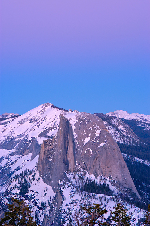 Half Dome and Clouds Rest at dusk from the summit of Sentinel Dome, Yosemite National Park, California