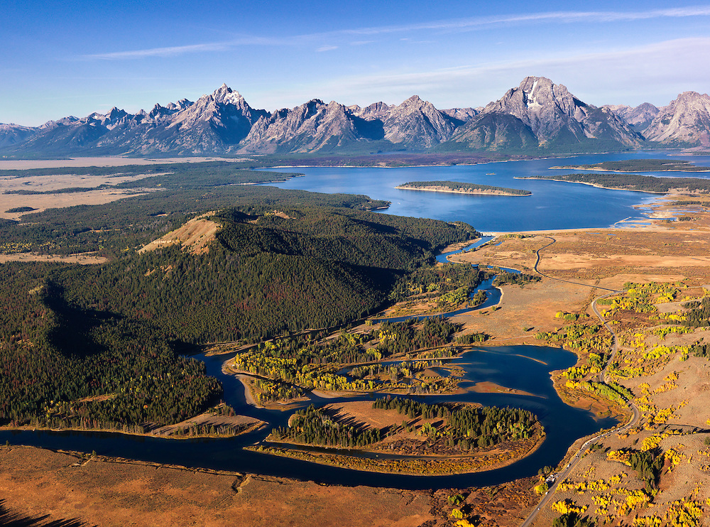 Aerial photograph on an Autumn morning at the Oxbow just below Jackson Dam on the South Fork of the Snake River in Teton National Park near Jackson Wyoming Licensing and Open Edition Prints