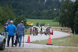The break approaches the small loop's climb in the third short lap of the Crescent Vargarda - a 152 km road race, starting and finishing in Vargarda on August 13, 2017, in Vastra Gotaland, Sweden. (Photo by Balint Hamvas/Velofocus.com)