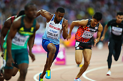 London, 2017 August 07. Nethaneel Mitchell-Blake, Great Britain, in the men's 200m heats on day four of the IAAF London 2017 world Championships at the London Stadium. © Paul Davey.