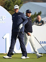 Oct 19, 2018-Jeju, South Korea-MARC LEISHMAN of Australia and SI WOO KIM of South Korea action on the 10th tee during the PGA Golf CJ Cup Nine Bridges Round 2 at Nine Bridges Golf Club in Jeju, South Korea.