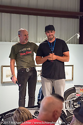 Custom builder Zach Ness of Arlin Ness Enterprises talks about his custom Victory drag bike on display in the Old Iron - Young Blood exhibition during the media and industry reception in the Motorcycles as Art gallery at the Buffalo Chip during the annual Sturgis Black Hills Motorcycle Rally. Sturgis, SD. USA. Sunday August 6, 2017. Photography ©2017 Michael Lichter.