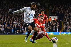 Tottenham's Aaron Lennon is fouled - Photo mandatory by-line: Mitchell Gunn/JMP - Tel: Mobile: 07966 386802 02/03/2014 - SPORT - FOOTBALL - White Hart Lane - London - Tottenham Hotspur v Cardiff City - Premier League