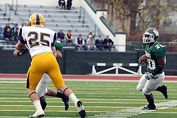 12 November 2011:  Devonte Jones waits for a block on Jared Puls by Tate Musselman during an NCAA division 3 football game between the Augustana Vikings and the Illinois Wesleyan Titans in Tucci Stadium on Wilder Field, Bloomington IL