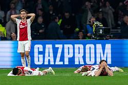 08-05-2019 NED: Semi Final Champions League AFC Ajax - Tottenham Hotspur, Amsterdam<br /> After a dramatic ending, Ajax has not been able to reach the final of the Champions League. In the final second Tottenham Hotspur scored 3-2 / Joel Veltman #3 of Ajax, Noussair Mazraoui #12 of Ajax, Daley Blind #17 of Ajax, Matthijs de Ligt #4 of Ajax