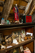 Displays relating to death by the Morbid Anatomy Museum in the Fort Hamilton Parkway gatehouse at Green-Wood Cemetery.