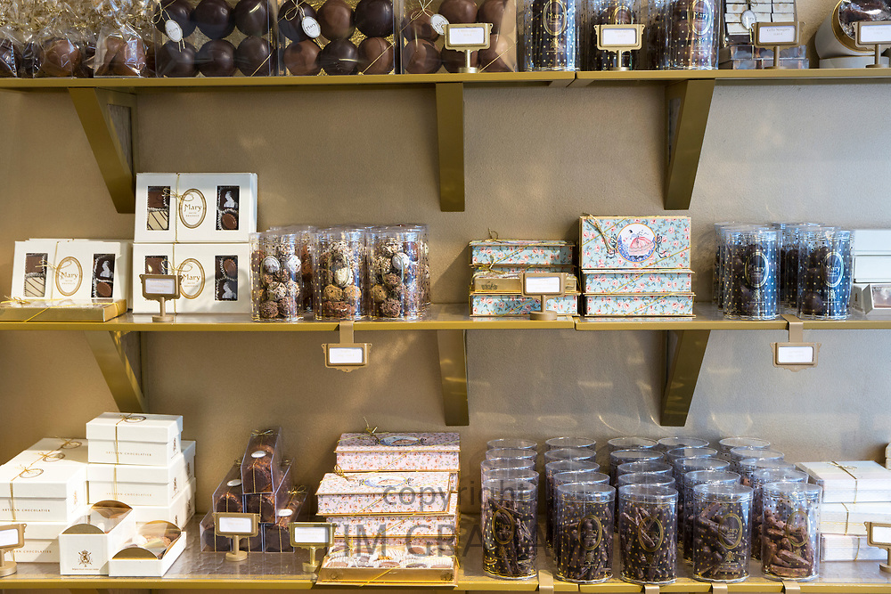 Chocolates in chocolate shop, Mary, for gifts and souvenirs in Bruges, Belgium