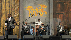 May 3, 2018 - New Orleans, Louisiana, U.S - JIMMY CARTER, BEN MOORE, CLARENCE FOUNTAIN and PAUL BEASLEY of Blind Boys of Alabama during 2018 New Orleans Jazz and Heritage Festival at Race Course Fair Grounds in New Orleans, Louisiana (Credit Image: © Daniel DeSlover via ZUMA Wire)