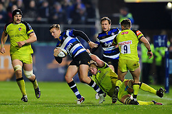 Darren Atkins of Bath Rugby takes on the Leicester Tigers defence - Mandatory byline: Patrick Khachfe/JMP - 07966 386802 - 04/11/2016 - RUGBY UNION - The Recreation Ground - Bath, England - Bath Rugby v Leicester Tigers - Anglo-Welsh Cup.