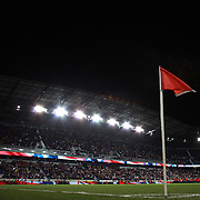 The corner flag at Reb Bull Arena during the New York Red Bulls V Houston Dynamo , Major League Soccer second leg of the Eastern Conference Semifinals match at Red Bull Arena, Harrison, New Jersey. USA. 6th November 2013. Photo Tim Clayton