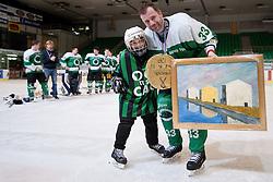 Ivo Jan of HK Olimpija with son Lan Matija Jan during ice-hockey match between HK Olimpija and HK Triglav in third match for Third place at Slovenian National League, on April 6, 2011 at Hala Tivoli, Ljubljana, Slovenia. (Photo By Matic Klansek Velej / Sportida.com)