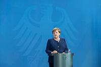 20 MAY 2020, BERLIN/GERMANY:<br /> Angela Merkel, CDU, Budneskanzlerin, gibt ein Pressestatement zur vorangegangenen Videokonferenz mit den mit den Vorsitzenden internationaler Wirtschafts- und <br /> Finanzorganisationen, Bundeskanzleramt<br /> IMAGE: 20200520-01-014<br /> KEYWORDS: Pressekonferenz