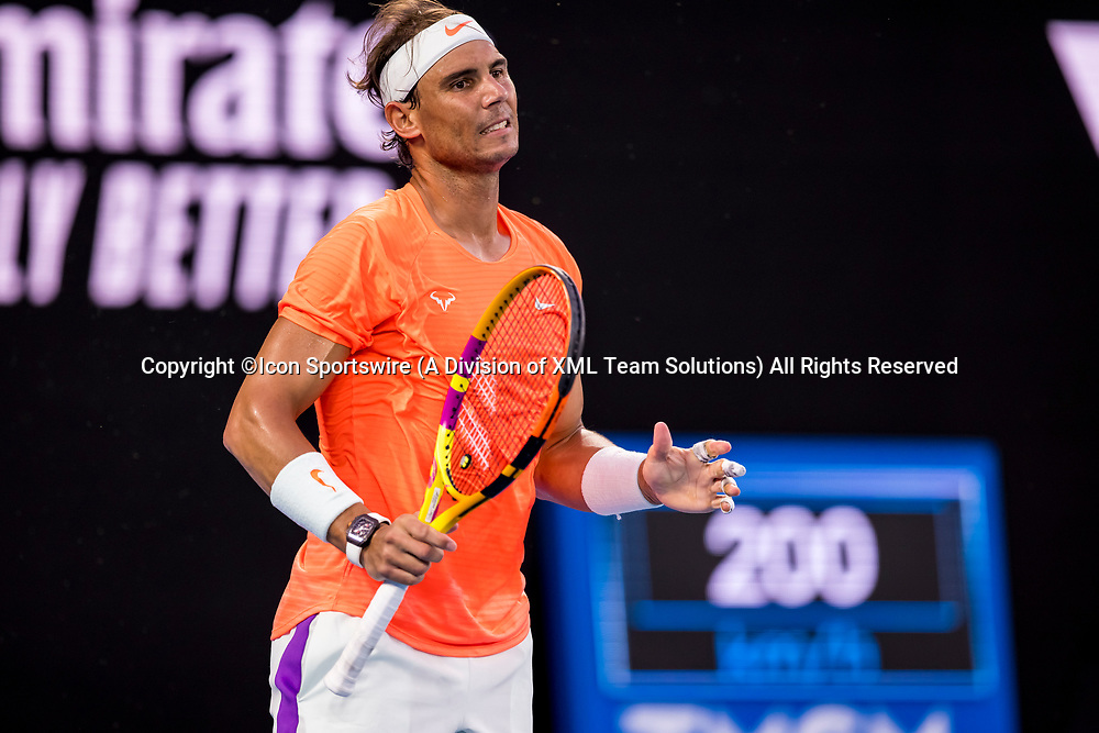 MELBOURNE, VIC - FEBRUARY 17: Rafael Nadal of Spain shows his frustration after losing a game during the quarterfinals of the 2021 Australian Open on February 17 2021, at Melbourne Park in Melbourne, Australia. (Photo by Jason Heidrich/Icon Sportswire)