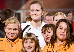 Ana Gros of Krim with her fans after the handball match of Round 2 of Champions League between RK Krim Mercator and Aalborg DH, on October 31, 2009, in Arena Kodeljevo, Ljubljana, Slovenia.  Krim won 30:23. (Photo by Vid Ponikvar / Sportida)