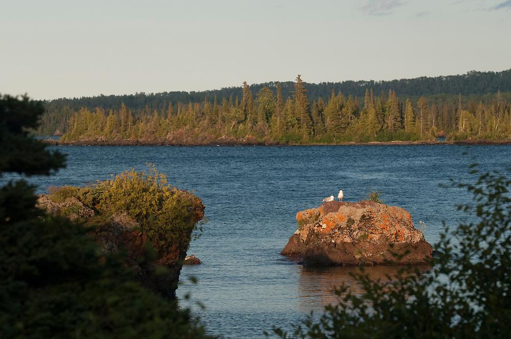 Rocky islands on Lake Superior at Isle Royale National Park.