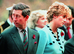 File photo dated 03/11/92 of the Prince and Princess of Wales at the memorial to the Gloucester Regiment, who fought with distinction in 1951 during the the Korean War, near Seoul, South Korea.