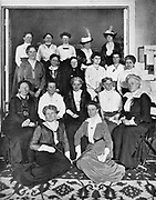 International Woman Suffrage Alliance - 1914. In centre of seated row is Carrie Chapman Catt (1859-1947), American feminist leader. 2nd from left Millicent Garrett Fawcett (1847-1929), leader of British women's suffrage movement.