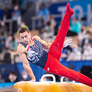TOKYO, JAPAN - JULY 26: Sam Mikulak of the United States performs his routine on the pommel horse.during the Men's Team final at Ariake Gymnastics Centre at the Tokyo 2020 Summer Olympic Games on July 26, 2021 in Tokyo, Japan. (Photo by Tim Clayton/Corbis via Getty Images)