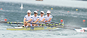 Bled, SLOVENIA. GBR W4X. Bow Mel WILSON, Beth RODFORD, Annie VERNON and Debbie FLOOD, start. Heats, First Day.  2011 FISA World Rowing Championships, Lake Bled. Sunday  28/08/2011  [Mandatory Credit; Peter Spurrier/ Intersport Images]