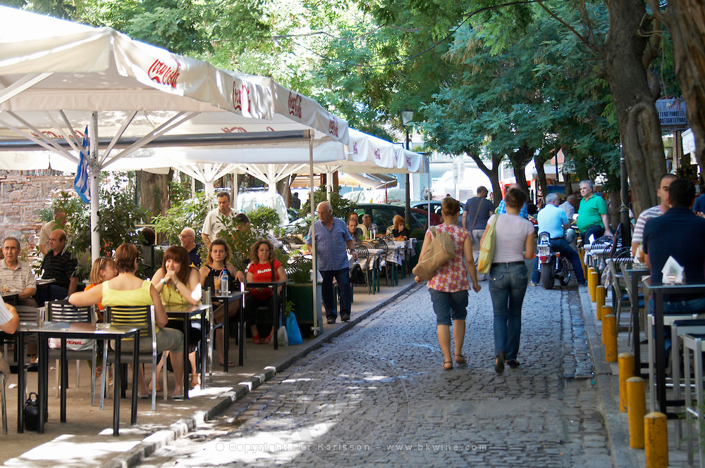 Square with restaurants. Thessaloniki, Macedonia, Greece