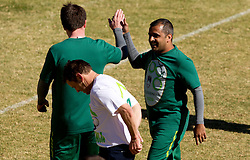 Ales Zavrl and Izmail Osman celebrate, in front Sandi Skvarc during friendly match between Slovenian football journalists and officials of Slovenian football federation at  Hyde Park High School Stadium on June 16, 2010 in Johannesburg, South Africa.  (Photo by Vid Ponikvar / Sportida)
