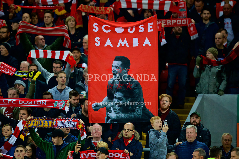 """LIVERPOOL, ENGLAND - Wednesday, September 13, 2017: Liverpool supporters banner featuring """"Scouse Samba"""" Philippe Coutinho Correia and Roberto Firmino during the UEFA Champions League Group E match between Liverpool and Sevilla at Anfield. (Pic by David Rawcliffe/Propaganda)"""