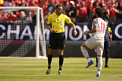 July 28, 2018 - Ann Arbor, MI, U.S. - ANN ARBOR, MI - JULY 28: Liverpool Forward Mohamed Salah (11) and referee Ismail Elfath talk before the ICC soccer match between Manchester United FC and Liverpool FC on July 28, 2018 at Michigan Stadium in Ann Arbor, MI (Photo by Allan Dranberg/Icon Sportswire) (Credit Image: © Allan Dranberg/Icon SMI via ZUMA Press)