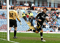 Photo: Paul Greenwood/Richard Lane Photography. <br />Burnley v Cardiff City. Coca-Cola Championship. 26/04/2008. <br />Cardiff City's Joe Ledley looks towards the Cardiff fans in celebration after scoring from the spot