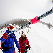 Andrew Whiteford points to the groups destination in the Teton backcountry near Jackson Hole Mountain Resort.