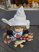 overhead view of a traditional Dutch flower girl display doll