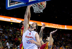 Pau Gasol of Spain vs Vojdan Stojanovski of Macedonia and Pero Antic of Macedonia during basketball game between National basketball teams of Spain and F.Y.R. of Macedonia in Semifinals  of FIBA Europe Eurobasket Lithuania 2011, on September 16, 2011, in Arena Zalgirio, Kaunas, Lithuania.  (Photo by Vid Ponikvar / Sportida)