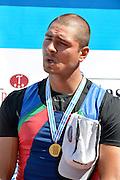 Trackai. LITHUANIA. ..Men's Single Gold Medalist, Aleksander ALESANDROV, AZE BM1X Gold Medalist on the awards dock,  2012 FISA U23 World Rowing Championships.  Lake Galve. ..14:48:32  Sunday  15/07/2012 [Mandatory Credit: Peter Spurrier/Intersport Images]..Rowing. 2012. U23.