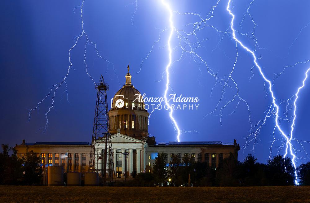 Lightning strikes around the Oklahoma State Capitol building on August 11, 2011. Photo copyright © 2011 Alonzo J. Adams.