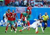 Alireza Jahanbakhsh (Iran) tackles on Mehdi Benatia (Morocco)<br /> Saint Petersburg 15-06-2018 Football FIFA World Cup Russia  2018 <br /> Morocco - Iran / Marocco - Iran <br /> Foto Matteo Ciambelli/Insidefoto
