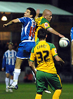 Photo: Ashley Pickering/Sportsbeat Images.<br /> Colchester United v Norwich City. Coca Cola Championship. 15/12/2007.<br /> Matthew Pattison of Norwich (R) wins the ball in the air from Kem Izzet of Colchester