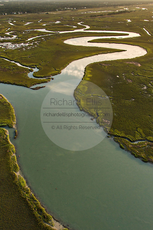Aerial view of sunrise over the salt marsh at Isle of Palms, SC.