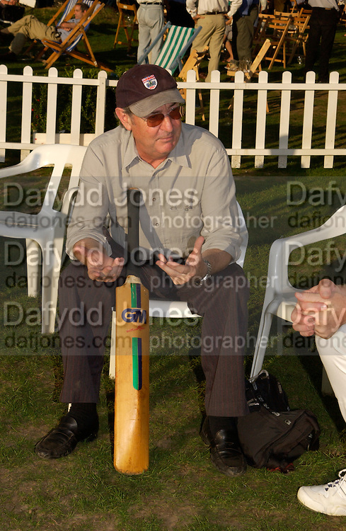 Nick Mason, The Duke of Richmond and Gordon's X1 V The Earl of March and Kinrara's X1. Cricket match before the Goodwood Revival meeting, 2 September 2004. SUPPLIED FOR ONE-TIME USE ONLY-DO NOT ARCHIVE. © Copyright Photograph by Dafydd Jones 66 Stockwell Park Rd. London SW9 0DA Tel 020 7733 0108 www.dafjones.com