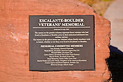 Plaque at the Escalante-Boulder Veterans Memorial, Escalante, Utah