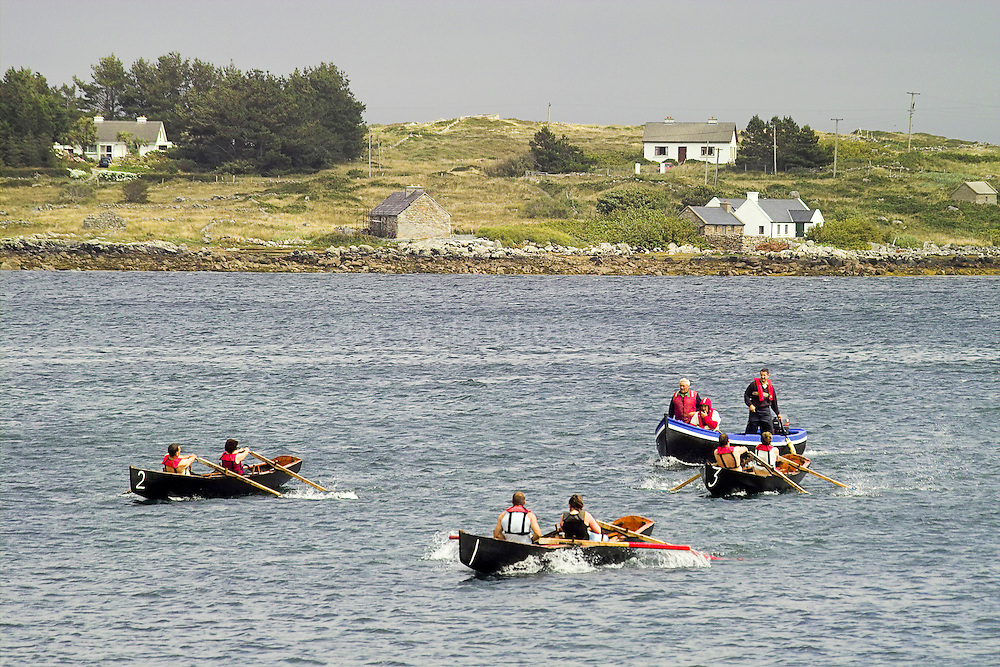 Racing currachs, Irish traditional boats, at Roundstone, July 25th, 2005