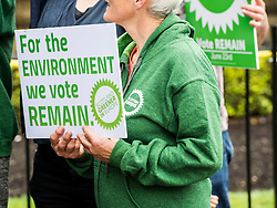 Pictured: <br /> <br /> The Scottish Green Party launched their statement on European Referendum today in Edinburgh. MSPs Ross Greer, Andy Wightman, Alison Johnstone were joined by co-convenor Maggie Chapman and activists as they the party's position on the referendum<br /> Ger Harley   EEm 13 June 2016