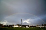 A rainbow shines over Maidenhead United ground during the The FA Cup 1st round match between Maidenhead United and Portsmouth at York Road, Maidenhead, United Kingdom on 10 November 2018.