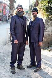 Gary Thomas and Led Sled's Pat Patterson on the streets of Kathmandu in their brand new custom made suits during the Motorcycle Sherpa's Ride to the Heavens motorcycle adventure in the Himalayas of Nepal. Back in Kathmandu after the ride. Thursday, November 14, 2019. Photography ©2019 Michael Lichter.