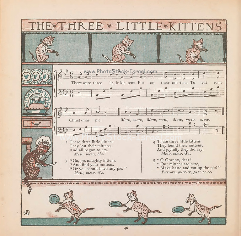 Three little Kittens Sheet Music From the Book ' The baby's bouquet : a fresh bunch of old rhymes & tunes ' by Crane, Walter, 1845-1915; Crane, Lucy, 1842-1882; Evans, Edmund, 1826-1905; Publisher  George Routledge and Sons (London and New York) 1878
